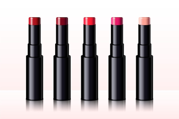 Collection of realistic lipsticks with different colors