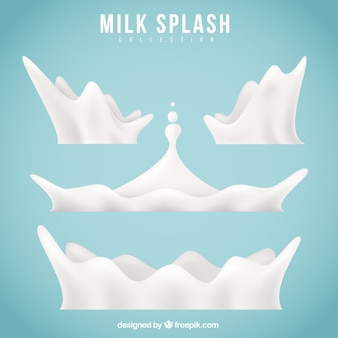 Collection of realistic milk splashes