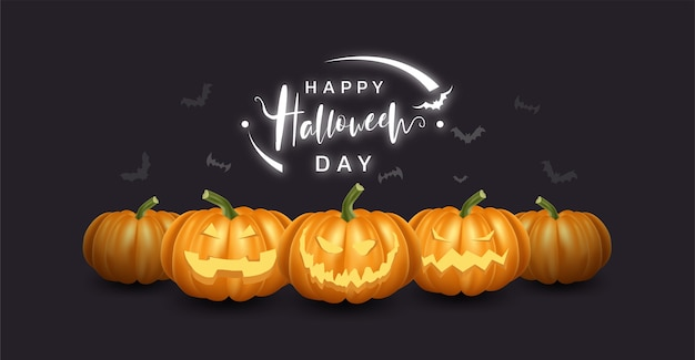 Collection of realistic pumpkin with happy and smile face. halloween.