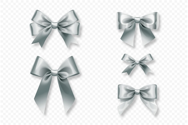 Collection of realistic ribbons and bows