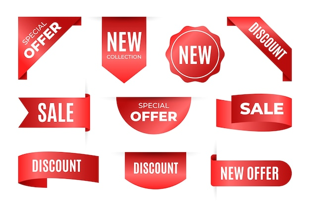 Collection of realistic sale tags with text