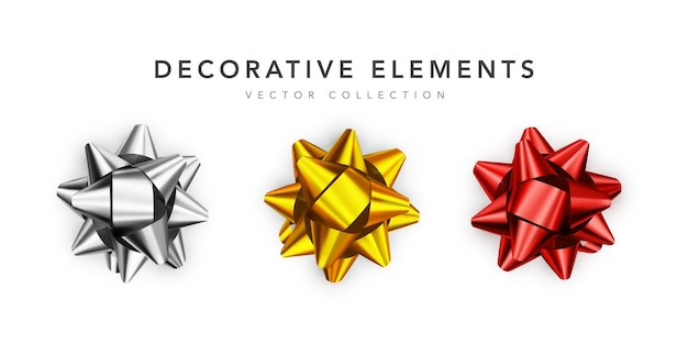 Collection of realistic shiny bows isolated on white background.