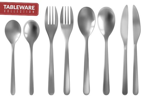 Collection of realistic silver cutlery set of isolated items
