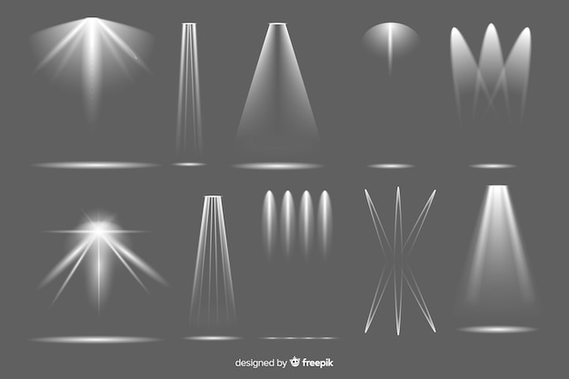 Collection of realistic spotlight illumination