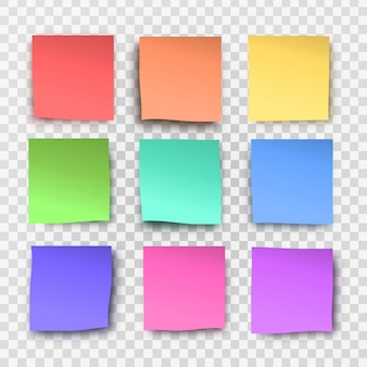 Collection of realistic  sticky notes on the transparent background.