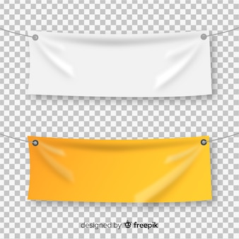 Collection of realistic textile banners