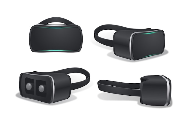 Collection of realistic vr headset
