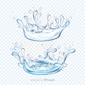 Collection of realistic water splashes