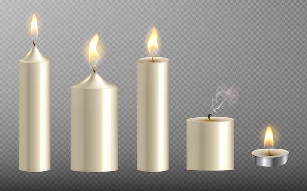 Collection of realistic white candles with fire on transparent background for christmas and new year