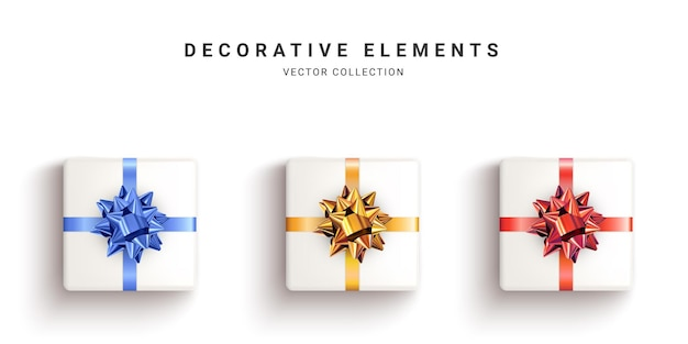 Collection of realistic white gift boxes, decorative presents isolated on white background. top view.