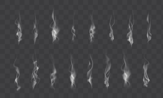 Collection of realistic white smoke steam, waves from coffee, tea, cigarettes, hot food isolated on transparent background. vector illustration