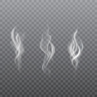 Collection of realistic white smoke.