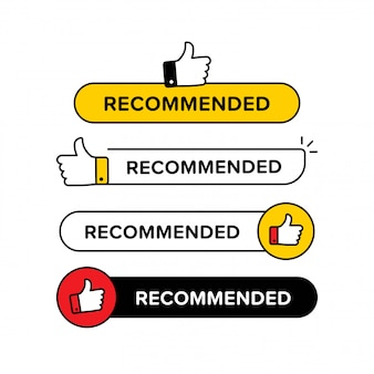 Collection of recommended banner with thumbs up