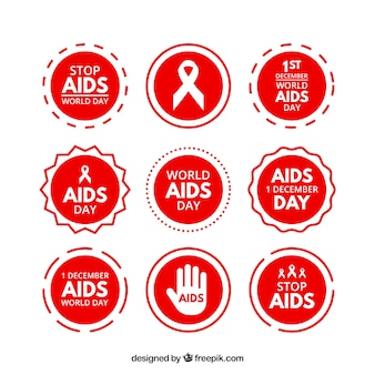 Collection of red aids world day stickers
