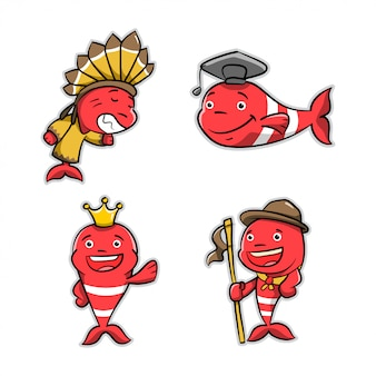 Collection of red fish cartoon action