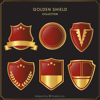 Collection of red and gold shields