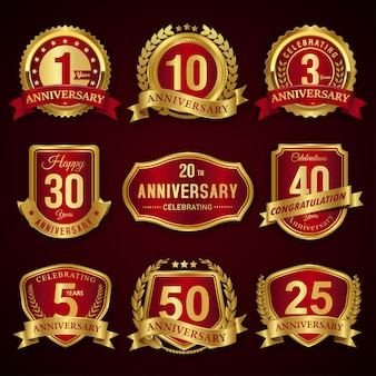 Collection of red and gold years anniversary seal badges and labels