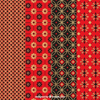 Collection of red japanese pattern