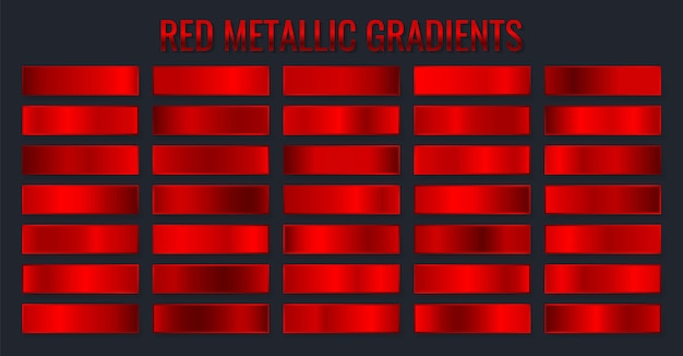 컬렉션 빨간 금속 그라디언트, 크롬 크리스마스 그라디언트 세트.