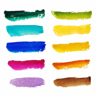 Collection of red orange yellow pink purple blue green brown watercolor brushstrokes isolated