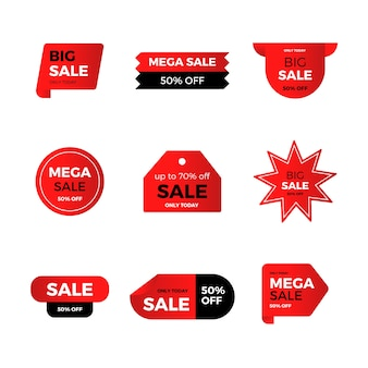 Collection of red sales label