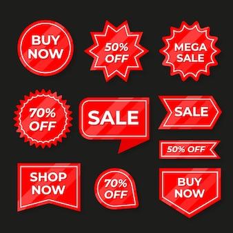 Collezione di etichetta rossa di vendita Vettore gratuito
