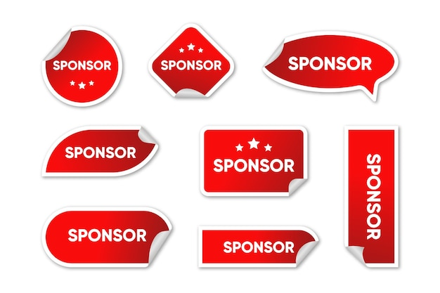 Collection of red sponsor stickers