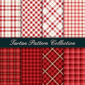 Collection of red tartan seamless pattern