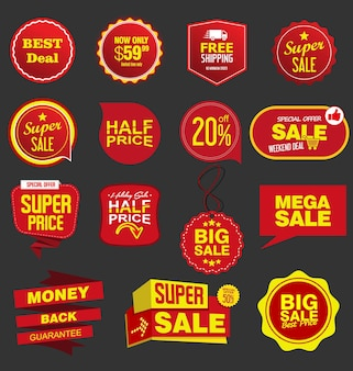 Collection of red and yellow stickers and badges