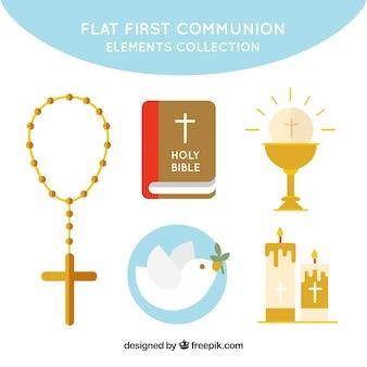 Raccolta di elementi religiosi in design piatto