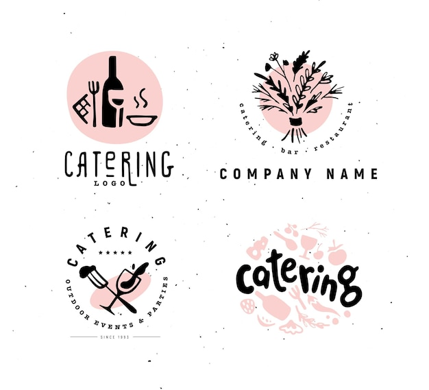 Collection of and restaurant company logo set