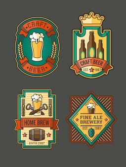 Collection of retro beer labels, stickers