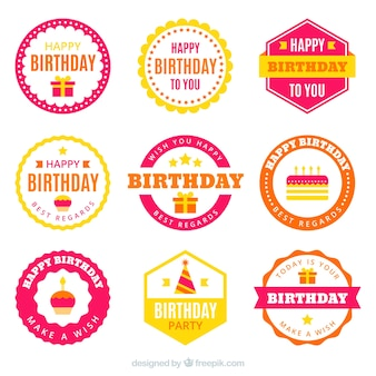 Collection of retro birthday sticker