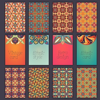 Collection retro cards with ethnic backgrounds.