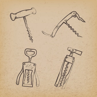 Collection of retro corkscrews on paper