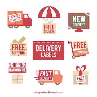 Collection of retro delivery sticker
