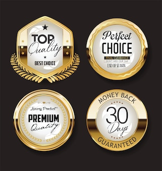 Collection of retro gold and black badge and label design