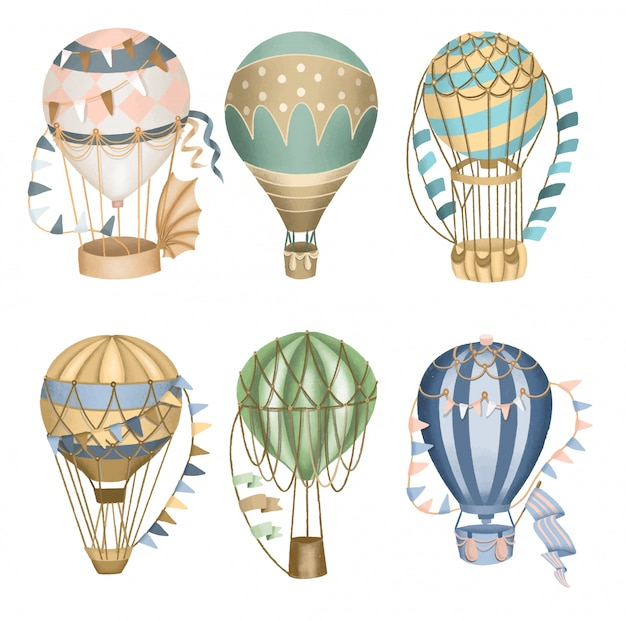 Collection of retro hot air balloons, hand drawn isolated.