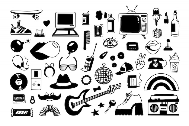 Collection retro icons elements in trendy 80s-90s hand-drawn cartoon style.