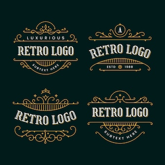 Collection of retro logos with golden ornaments