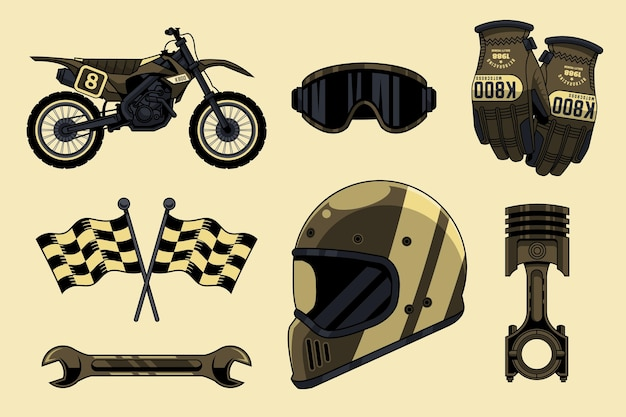 Collection of retro motocross elements