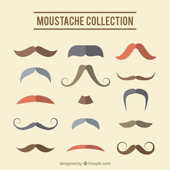 Collection of retro moustaches in flat design