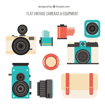 Collection of retro photo equipment in flat design