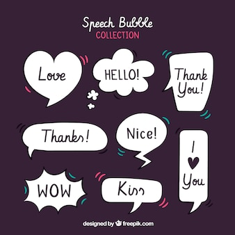 Collection of retro style speech bubbles with messages