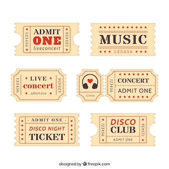 Collection of retro ticket