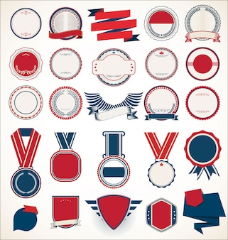Collection of retro vintage badges labels and ribbons