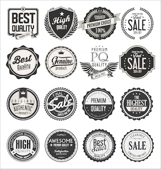 Collection of retro vintage badges