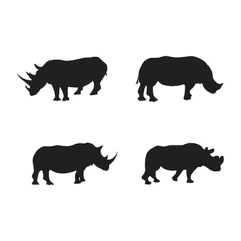 Collection of rhino animal silhouettes