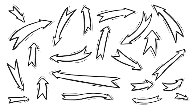 Collection of ribbon arrow sketch isolated on white