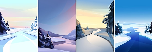 Collection of river landscapes. winter sceneries in vertical orientation.